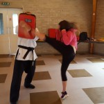 Adult roundhouse kick on pads